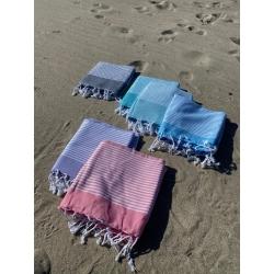 Strandtuch mittel 6 Farben gestreift