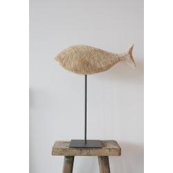 Holzfisch auf Metallfuß
