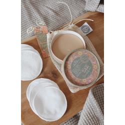 Set zum Abschminken - Feste Abschminkseife, Bio-Baumwoll Pads, Beutel