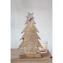 Holztanne mit silbernem Stern