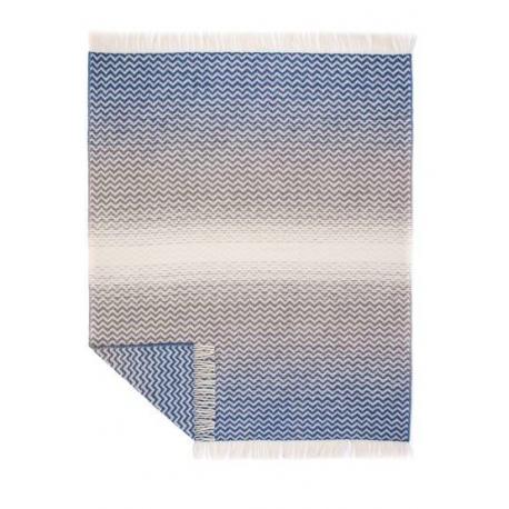 Decke aus Jacquard-Wolle in blau