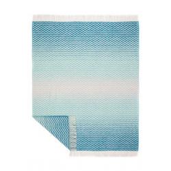 Decke aus Jacquard-Wolle in türkis