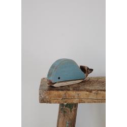 Blauer Holzwal