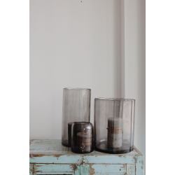 """Glaswindlichter """"Zylinder"""" grau"""