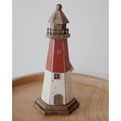 Holzleuchtturm rot-weiß klein