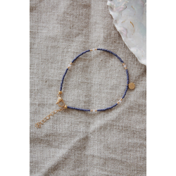 One coin anklet navy