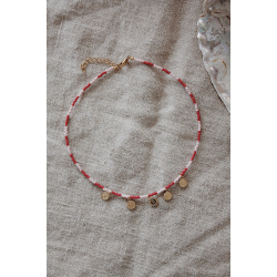 Pink red necklace coins