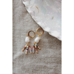 15 mm hoops pearls colourful gold