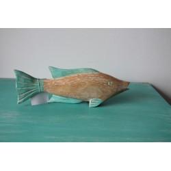 Holzfisch türkis